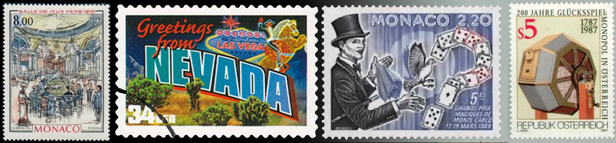 Des timbres postaux sur le sujet du Casino